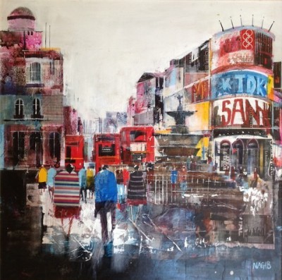 British Artist Nagib KARSAN - Grey day, bright lights in Piccadilly Circus
