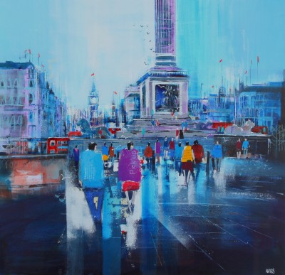 British Artist Nagib KARSAN - Big Ben from Trafalgar Square