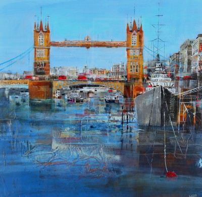 British Artist Nagib KARSAN - HMS Belfast & Tower Bridge