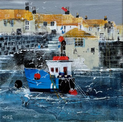 British Artist Nagib KARSAN - Fishing Boat, Coverack
