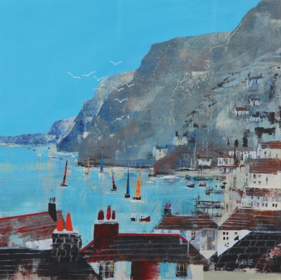 British Artist Nagib KARSAN - A Fine Day for Sailing, Dartmouth
