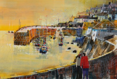 British Artist Nagib KARSAN - A Stroll around the Harbour, Coverack