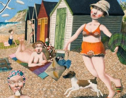 British Artist Richard ADAMS - On the Beach