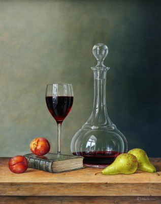 Roy HODRIEN - Wine Decanter with Plums and Pears