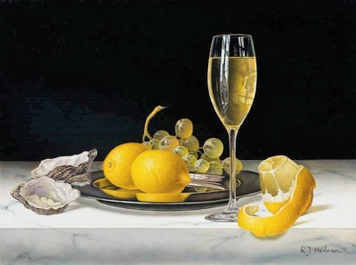 Limited Edition Prints Artist Roy Hodrien - White Wine with Lemons and Oysters