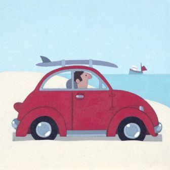 Limited Edition Prints Artist Sasha Harding - The Red VW