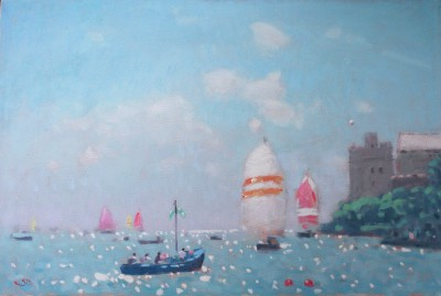 British Artist Stephen BROWN RBA - Blue Boat and Spinnakers, Dartmouth