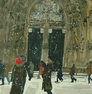 Limited Edition Prints Artist Susan Brown - Strolling, St Vitus Cathedral, Prague