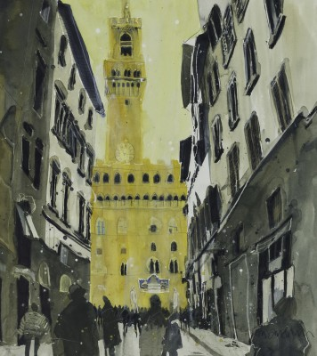 Towards Palazzo Vecchio, Florence painting by artist Susan BROWN