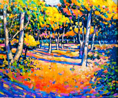 British Artist Terence CLARKE - Autumn Woodland, Blackwell