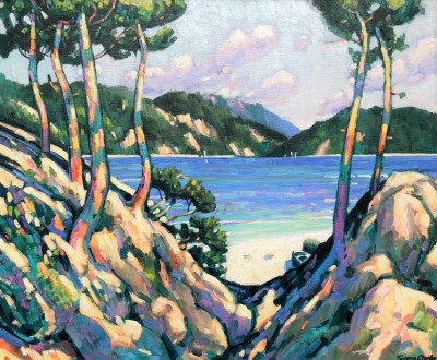 British Artist Terence CLARKE - Rocks and Pines near Port d'Olon