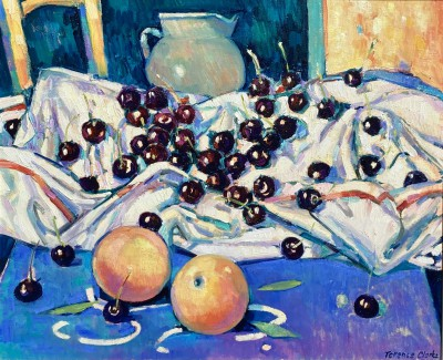 British Artist Terence CLARKE - Still Life with Cherries and Peaches