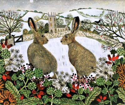 Vanessa BOWMAN - Hares and Moonlit Snow